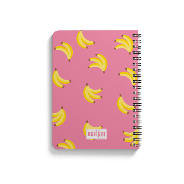 banana pattern spiral notebook back