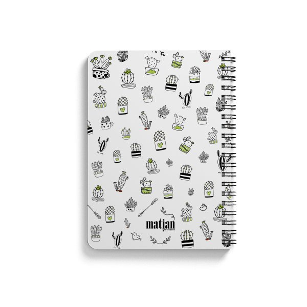 cactus pattern spiral notebook back