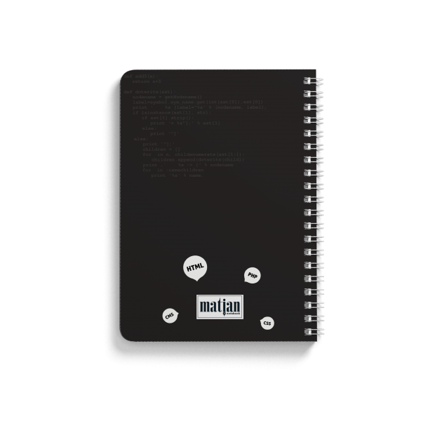 code spiral notebook back
