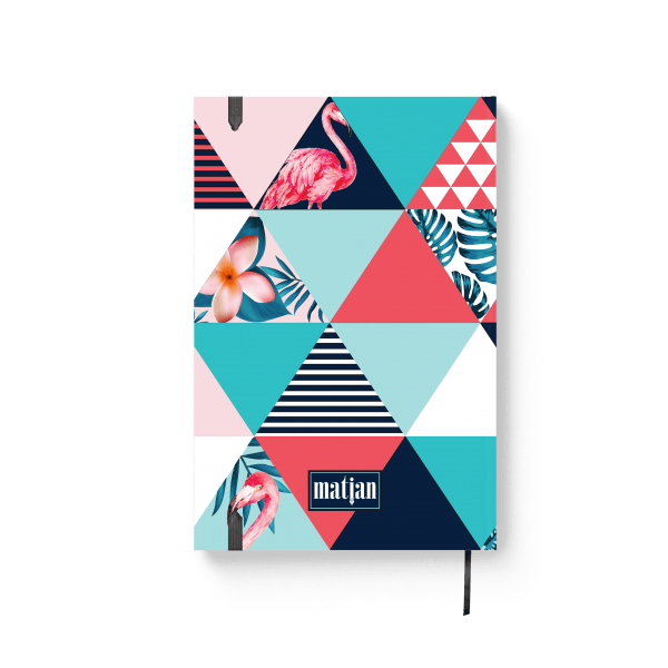 flamingo journal notebook with tropical elements back