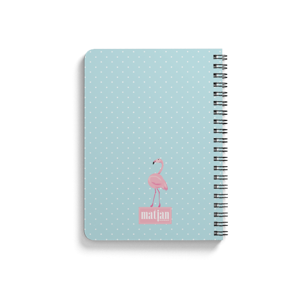 flamingo pattern spiral notebook back