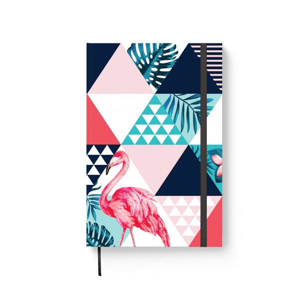 flamingo journal notebook with tropical elements | ռեզինով նոթատետր ''flamingo''