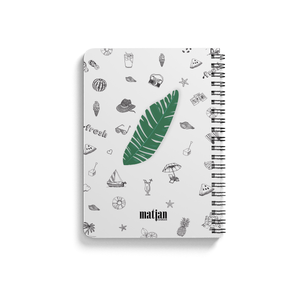 palm pattern spiral notebook back