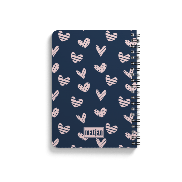 pink hearts pattern spiral notebook back