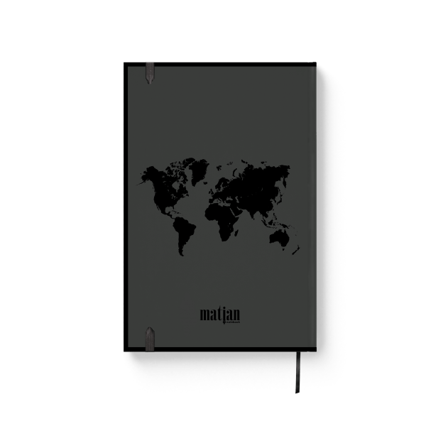 black journal notebook with red text back