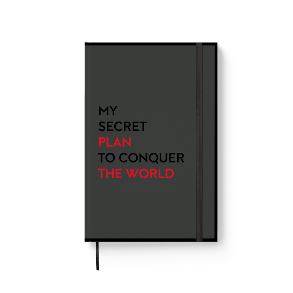 black journal notebook with red text | ռեզինով նոթատետր ''secret plan''