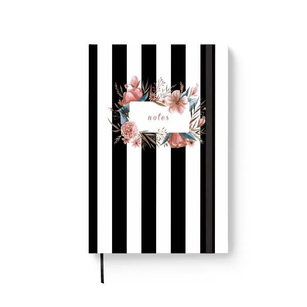 strips with flowers journal notebook | ռեզինով նոթատետր ''stripes with flowers''