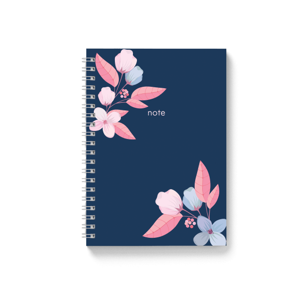 blue notebook with floral design | սպիռալով նոթատետր ''blue note''