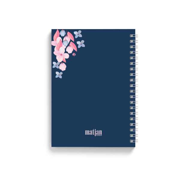 blue notebook with floral design back