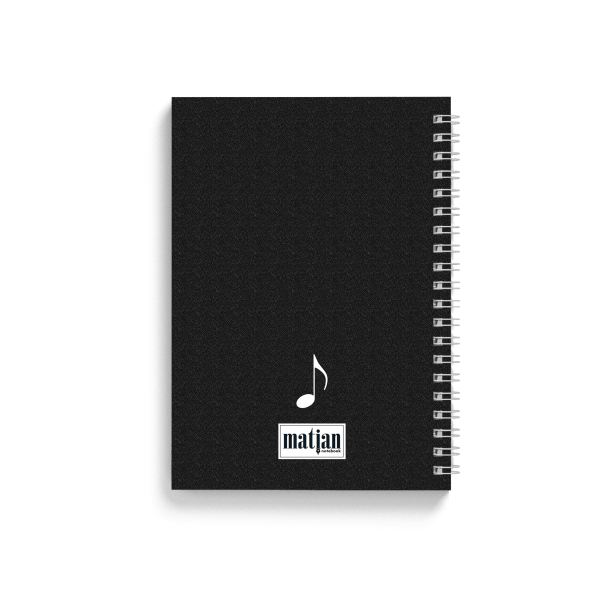 piano design spiral notebook back