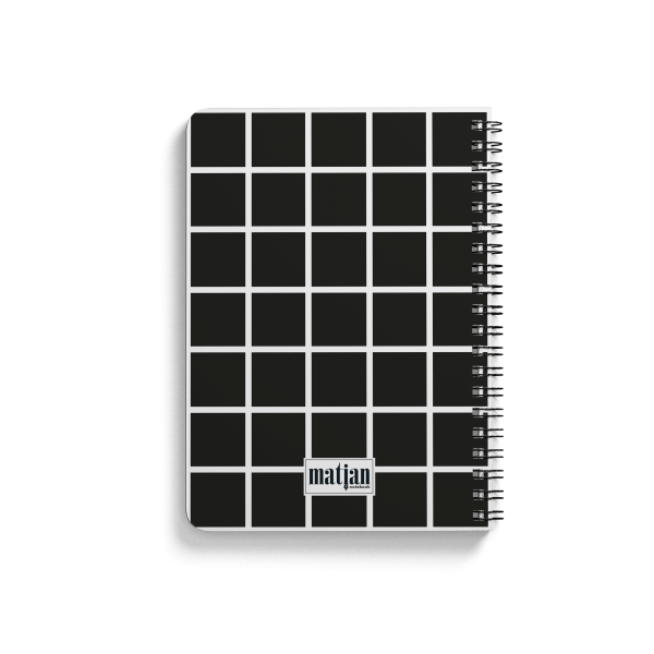square pattern spiral notebook back