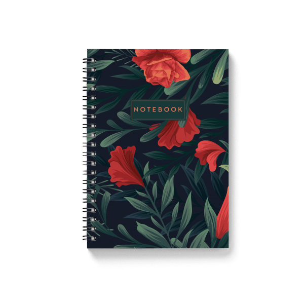 tropical green notebook with floral design | սպիռալով նոթատետր ''tropical green''