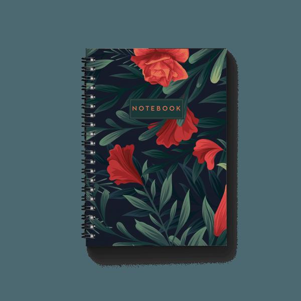 tropical green notebook with floral design | սպիռալով նոթատետր ''tropical green''