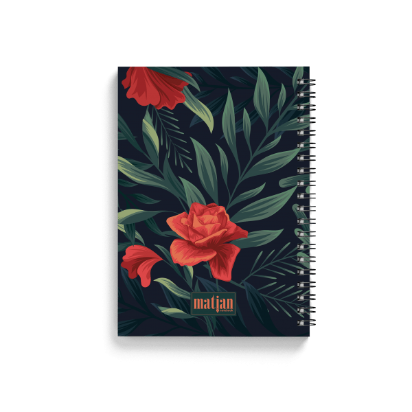 tropical green notebook with floral design back