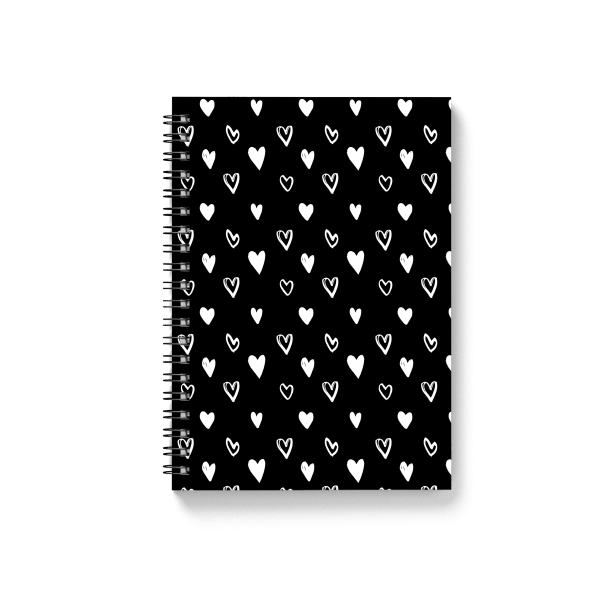 black hearts design spiral notebook | սպիռալով նոթատետր ''black hearts''