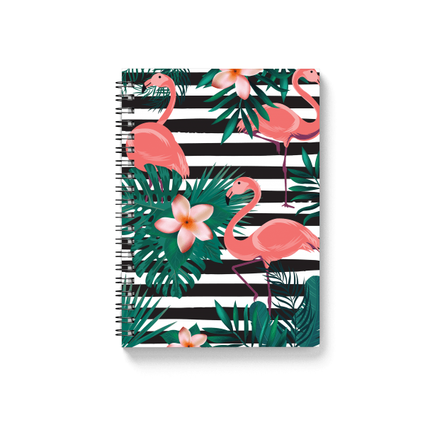 flamingo pattern spiral notebook with tropical elements | սպիռալով նոթատետր ''B&W Flamingo''