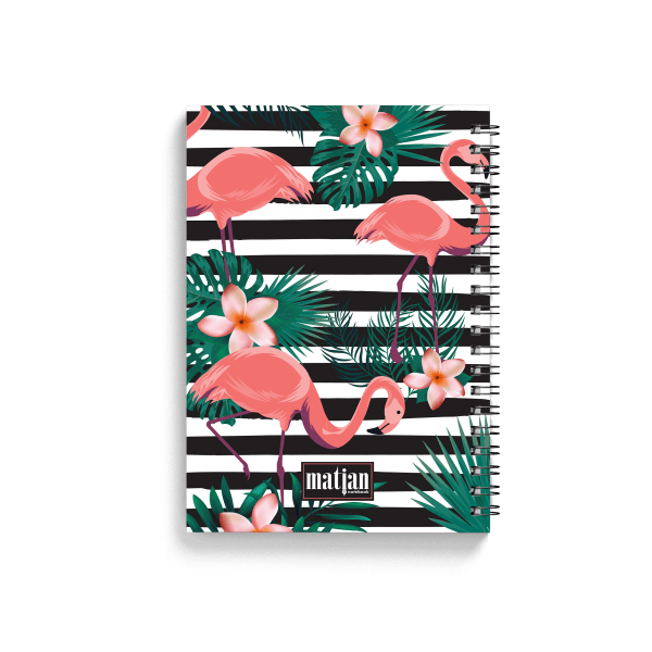 flamingo pattern spiral notebook with tropical elements back
