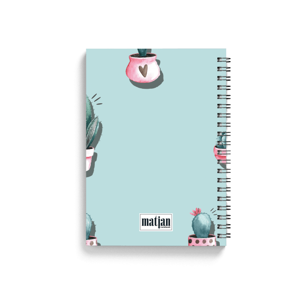 pink cactus pattern spiral notebook back